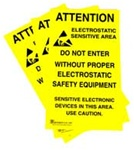 Hard To Miss! JEDEC-14 style Double Sided ESD Warning Signs Alert Personnel