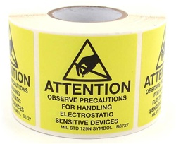 JEDC-14 style ESD Warning Labels Provide Warnings for Static Sensitive Products